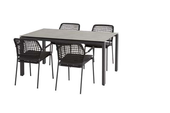 91122-19608-19609_ Barista anthracite dining set with Goa HPL dark grey table 160x95 cm.jpg